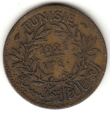 Tunisia  1921  Good for One Franc token  brass