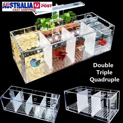 2/3/4 Grid Acrylic Aquarium Baby Betta Fish Tank LED Light Breeding Hatchery Box
