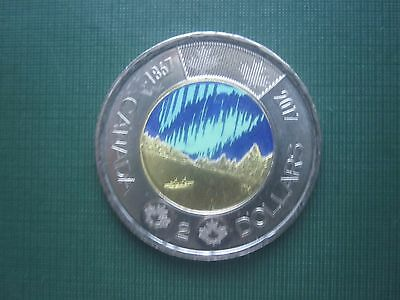 """CANADA 2017  """"Twoonie"""" or Two Dollar """"Glow in the Dark"""" Northern Lights Coin"""