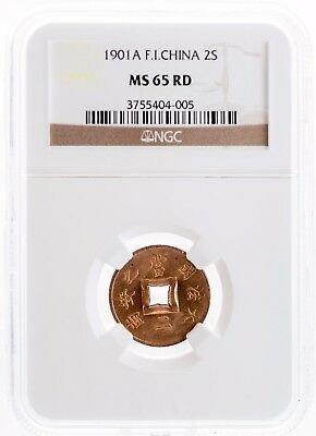 1901-A. FRENCH INDO-CHINA - 2 Sapeque,  NGC MS 65 RD
