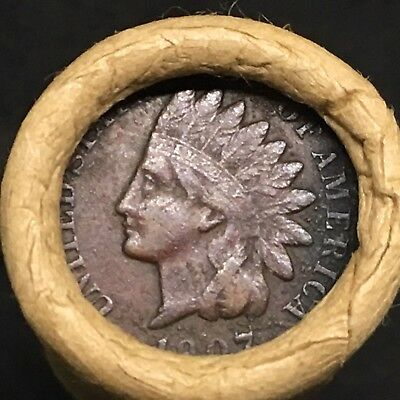 Old Estate Mixed Wheat Penny Roll!!! Fine 1907 Indian Head Showing On End!! R641