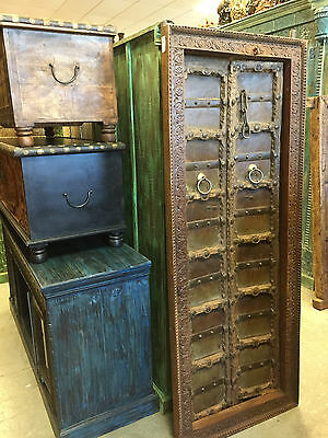 Antique Indian Double Doors Hand Carved Teak Doors & Solid Frame Interior Design