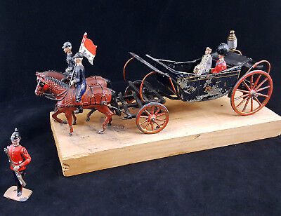 Antique Toy Cast Iron & Steel British Royal Army War Wagon Carriage & Soldiers