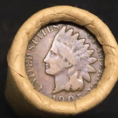 Old Estate! Wheat Head Penny Roll!!! Rare 1905 Indian Head Showing On End!! R648