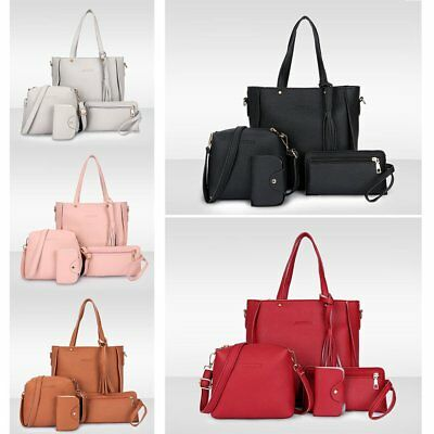 4pcs Women PU Leather Shoulder Bag Tote Handbag Purse Messenger Satchel Clutch