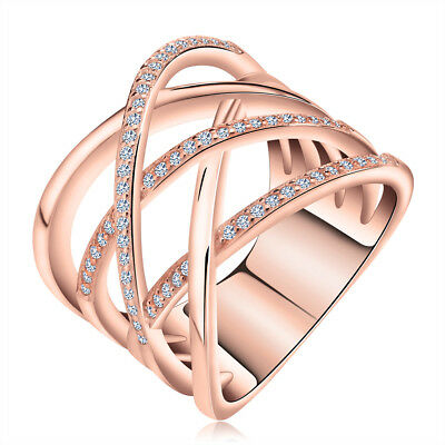 Women's Rings Criss Cross CZ Crystal Silver Plated Cocktail Wedding Band Jewelry