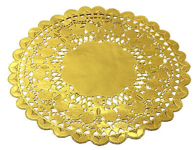 """12"""" Round Gold Royal Lace Foil Paper Doilies for Craft Table Plate Decor 24/48pc"""