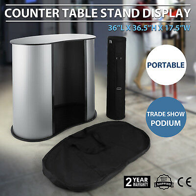 Podium Table Counter Stand Trade Show Display Oval Bean Promotion Retail w/Case