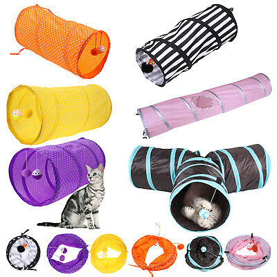 Pet Cat Kitten Dog Puppy Rabbit Folding Tunnel Game Play Toys w/ Bell Ball Gift
