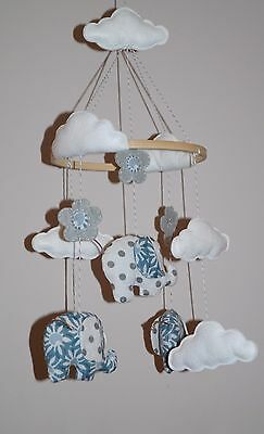 SALE Baby Boy mobile with elephants, flowers, clouds turquoise blue & grey polka
