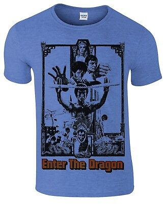 Bruce Lee enter the dragon Kung Fu martial arts movie poster style men`s t shirt