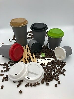 COFFEE TEA PARTY PAPER CUPS GREY 50 x 8oz 12oz Cold Hot Drinks Disposable LIDS