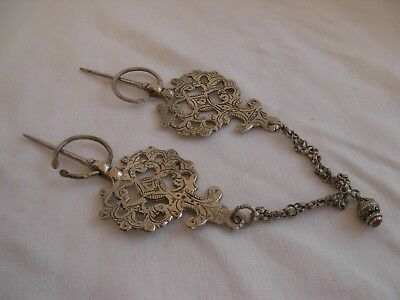 PAIR OF ANTIQUE NORTH AFRICA SOLID SILVER FIBULA,HALLMARKED,LATE 19th CENTURY