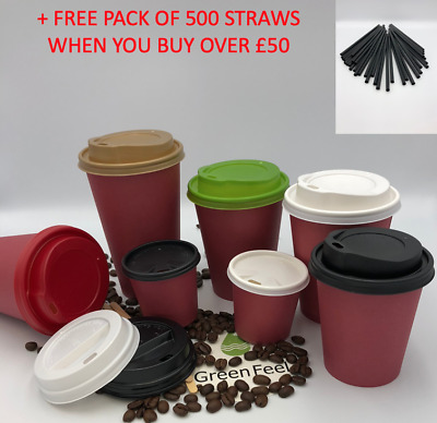 RED PAPER CUPS 4oz 8oz 12oz 16oz Disposable Coffee Tea Cold Hot Drinks SIP LIDS