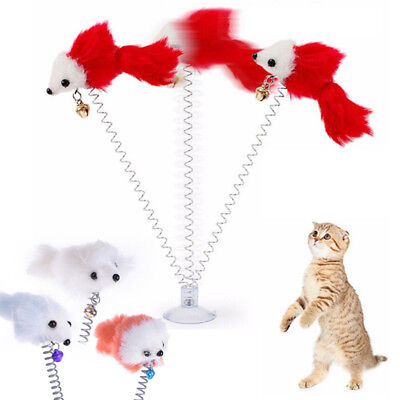 Multi Funny Pet Cat Kitten Toy Adsorbable Wall Teaser Wand Feather Rod Cat Play