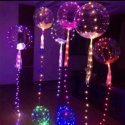 2PCS 30LED Light Up Bobo Balloon Transparent Wedding Birthday Xmas Party Decor