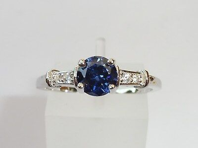 Ladies Sterling 925 Solid Silver Tanzanite and Natural Diamond Eternity Ring