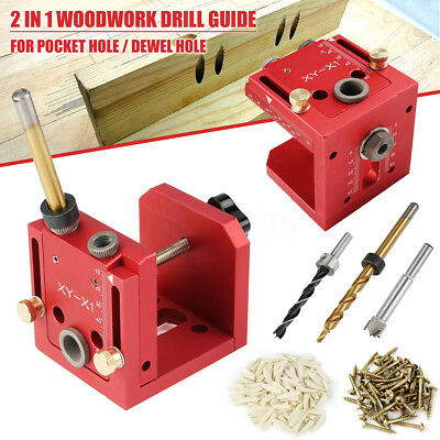 Pocket Hole Jig & Dowel Drill Guide System Step Bit Set Woodworking Joinery Tool
