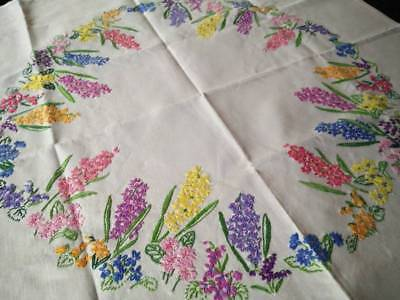 "Wonderful Spring Flower Circle  ~Vintage Hand Embroidered Tablecloth 32+"" x 33+"""
