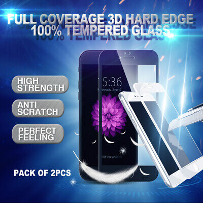 2 x Full Coverage Tempered Glass Screen Protector For Apple iPhone 8 7 6s 6 Plus