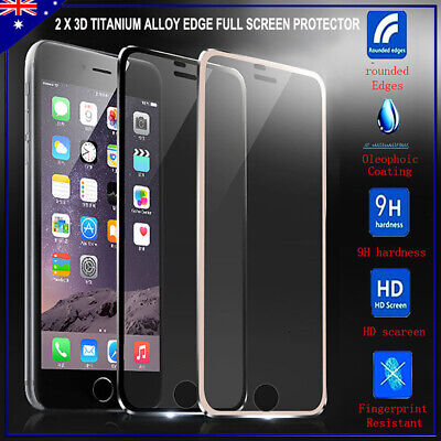 2 x 3D Titanium Alloy Edge Full Tempered Glass Screen Protector For iPhone 6 7 8