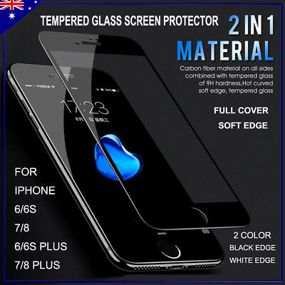 2x 3D Curved Edge Soft Fiber Glass Screen Protector iPhone 6, 6s, 7, 8 Plus