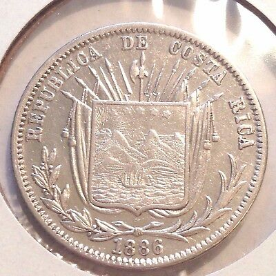1886 Costa Rica 50 Centavos silver, GW 9ds, XF+/AU - Not Counterstamped