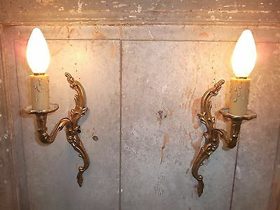 French a pair of  gold bronze wall light sconces detailed vintage