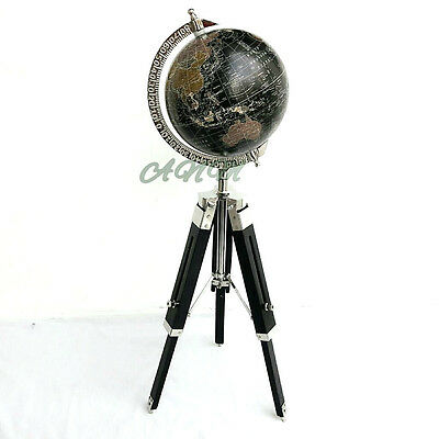 World Globe With Wooden Tripod Stand Nautical Home Decorative Gift Item