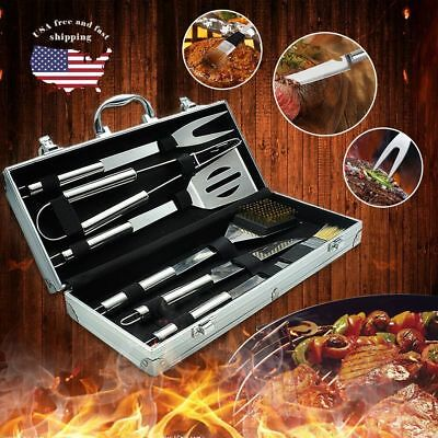 6PCS BBQ Grill Tools Set Stainless Steel Outdoor Utensils With Aluminum Case USA