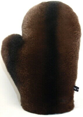 Handschuh SamtPelz Rex Massage Streichel Fur Glove Chinchilla Optik Schoko Braun