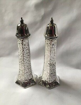 Silver Plated salt And Pepper Set Hammered Finish