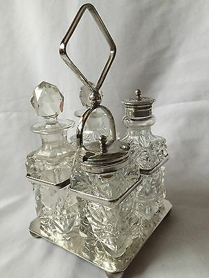 Vintage Silver Plated EPNS Holder With 4 Crystal/Glass Pots Table Set