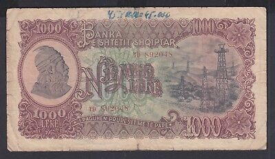 1957 Albania Banknotes. 1000 Leke. Used. Printed in Russia ( USSR)