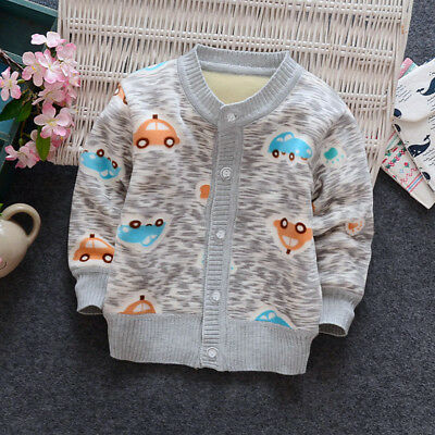 Kids Boys Cardigan Fleece Warm Outwear Baby Long Sleeved Jumpers Tops Age 1-4