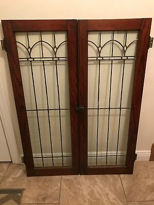 "2 ANTIQUE 48 1/2 x 18"" LEADED STAINED GLASS OAK CUPBOARD CABINET PANTRY DOORS"