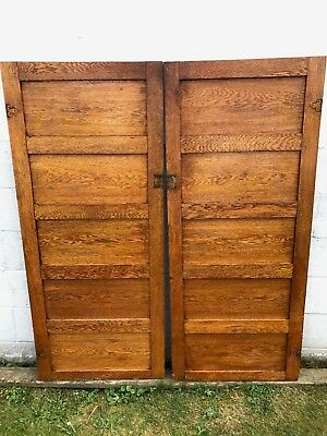 "PAIR (2) ANTIQUE 24"" x 56"" OAK WOOD 4 FLAT PANEL CUPBOARD CABINET PANTRY DOORS"