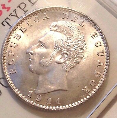 1914 TF Ecuador 2 Decimos silver coin, Choice Brilliant UNC