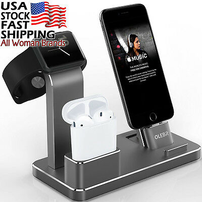 Apple Watch and iPhone Stand Aluminum Charging Dock, AirPods Holder, Black