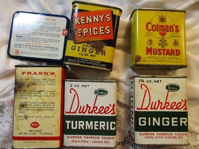 lot of vintage tin spice tins pretty some full Kenny's Franks Durkee's