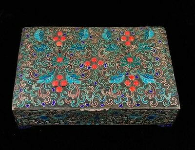 Antique Chinese Cloisonne Enamel Box Coral Inlay