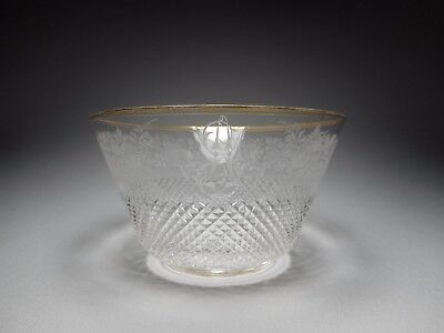 19th C. Bohemian Wheel Engraved Blown Flint Glass Gilded Rim Finger Bowl
