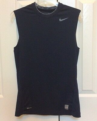 Mens Nike Pro Sleeveless Compression Shirt Navy Blue Gray Size Small