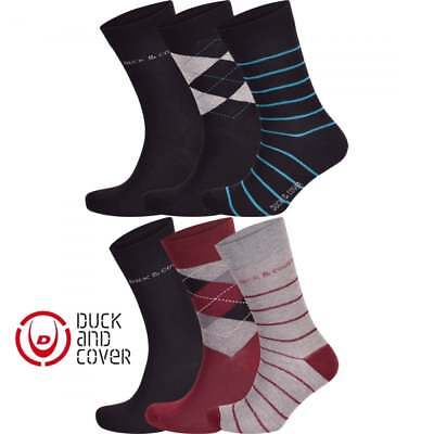Duck and Cover Mens 3 Pairs Luxury Designer Cotton Rich Dress Socks 6-11