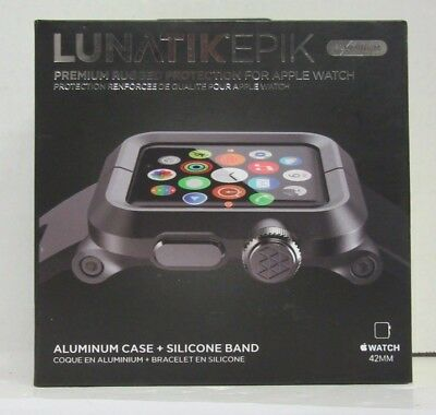 Lunatik 42Mm Apple Watch Case Black Aluminum With Black Silicone Band - Epik-007