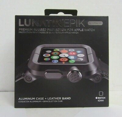 LUNATIK EPIK 42MM Aluminum Case & Leather Band for Apple Watch Black/Black