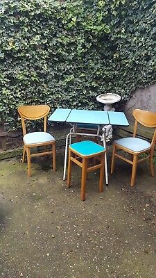vintage retro 50s drop leaf kitchen table, formica & metal legs, 2 chairs 2