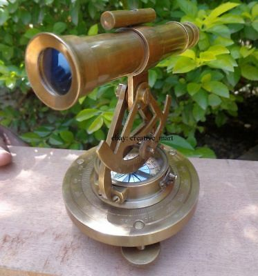 "Brass Nautical 5"" Theodolite Alidade Telescope Polished Finish - Marine replica"
