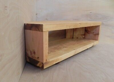 Corner Tv Stand Unit Table Handmade Rustic Chunky Solid Wood Light