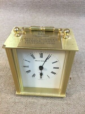 MILTON H. SCHLOSER Congressional Country Club Brass Carriage Clock NOT WORKING